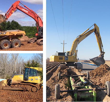 Collage of excavating equipment working at various jobsites for Tom's Backhoe Service